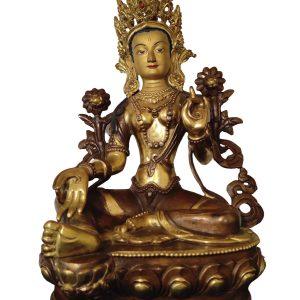 Statue de Tara verte - Or et Bronze - Népal