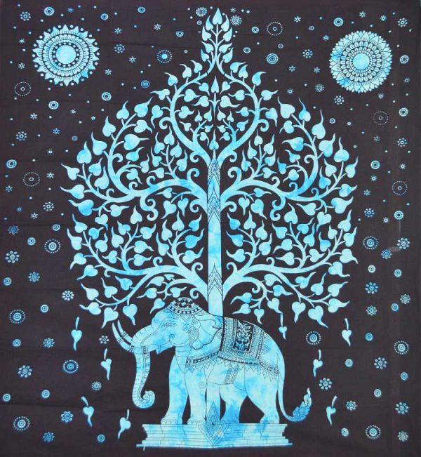 tenture arbre de vie éléphant bleue