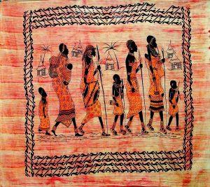 tenture indienne ethnique village africain