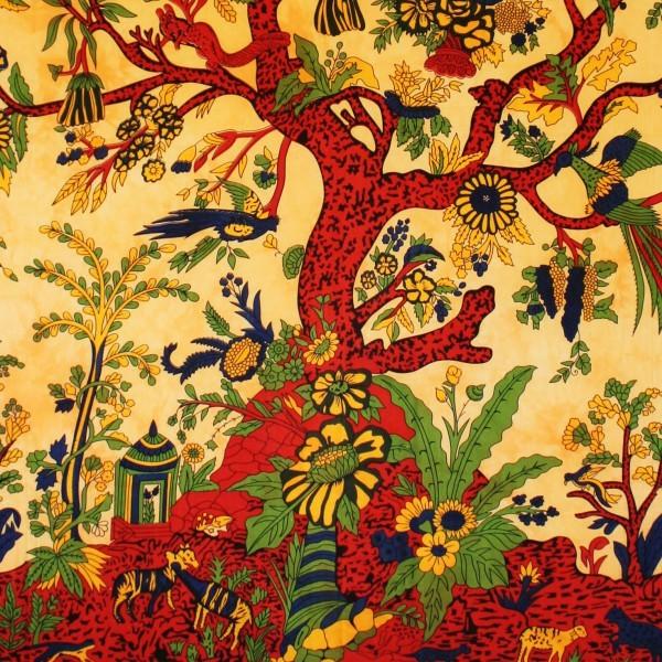 Tenture indienne Arbre de Vie - couleur orange Tree of life