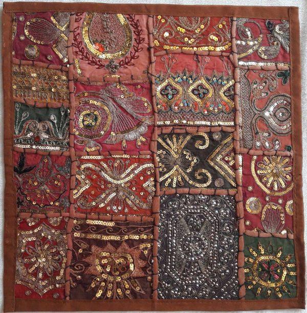 Housse de coussin patchwork saris Indien