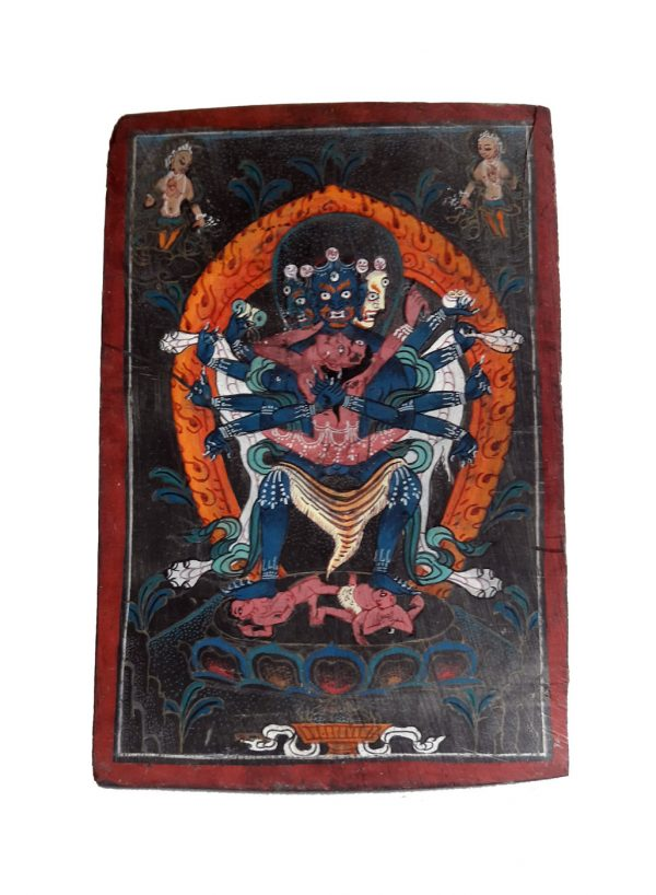 Samvara peinture tibétaine sur os