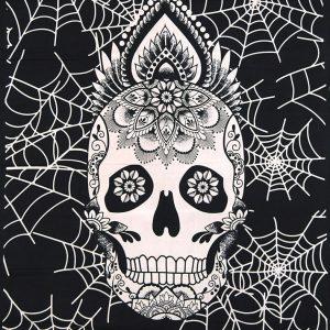 Tenture Tribal Tête de Mort - Calavera style mexicain