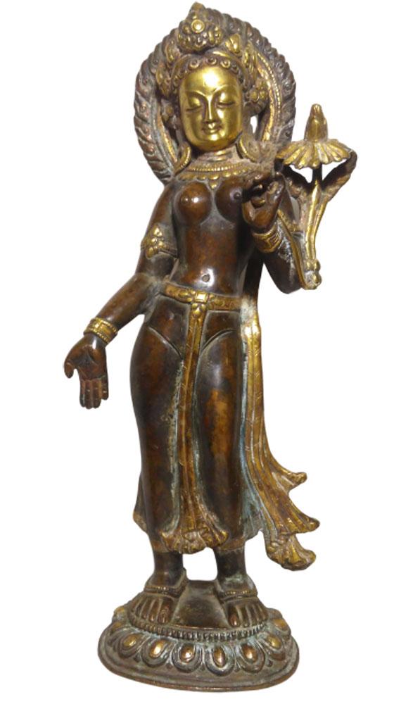 Statue Tara Blanche debout - Bronze et Or - Népal