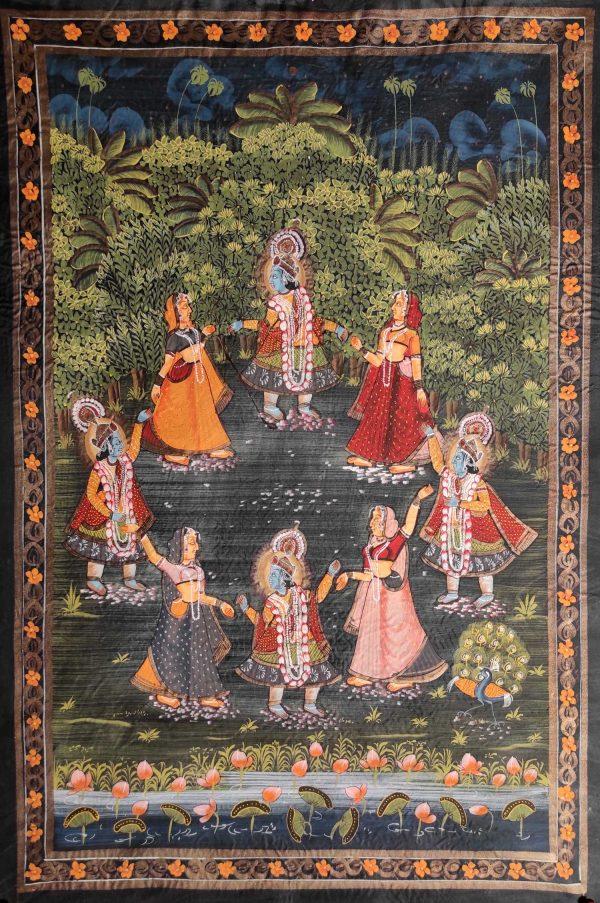 Peinture Rajasthan Krishna et les Gopis