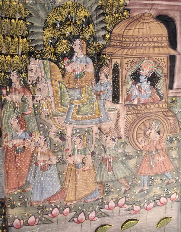 Peinture Rajasthan Histoire de Radha et Krishna