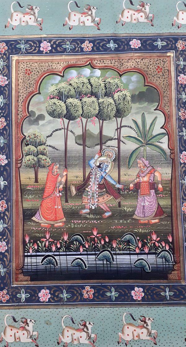 Peinture indienne Rajput Triptyque - Radha et Krishna