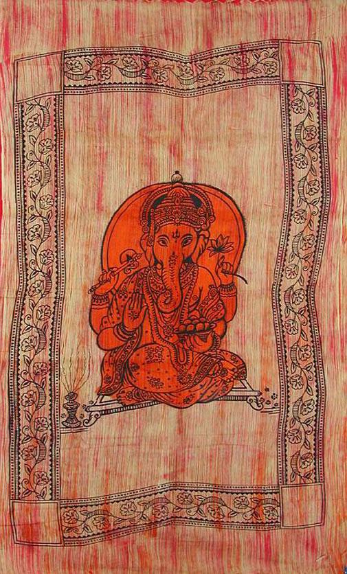 Petite tenture Ganesh Brossée avec Franges