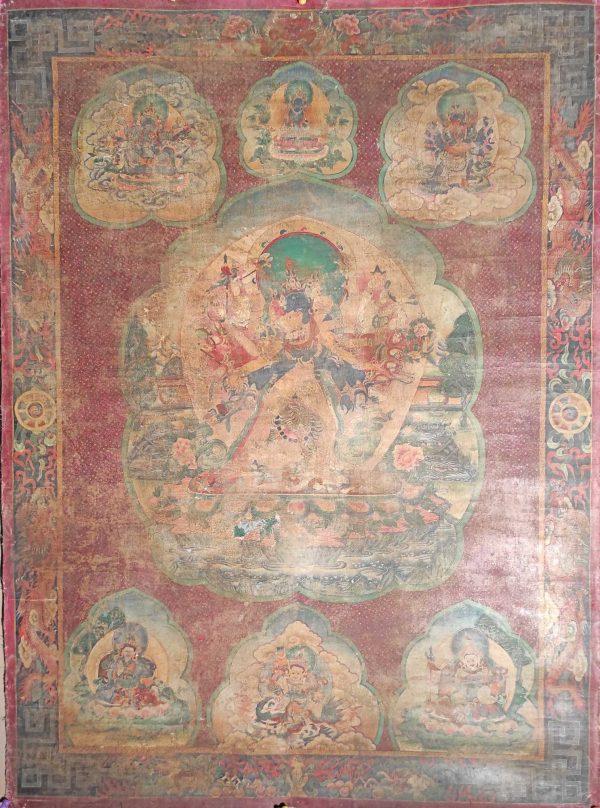 Peinture ancienne Tibétaine tangka Kalachakra