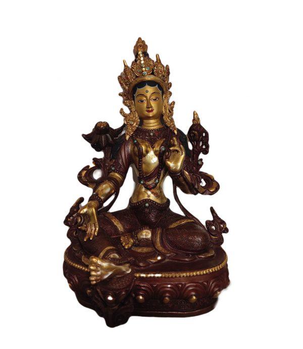 Tara verte - Statue du Népal  - Or et Bronze