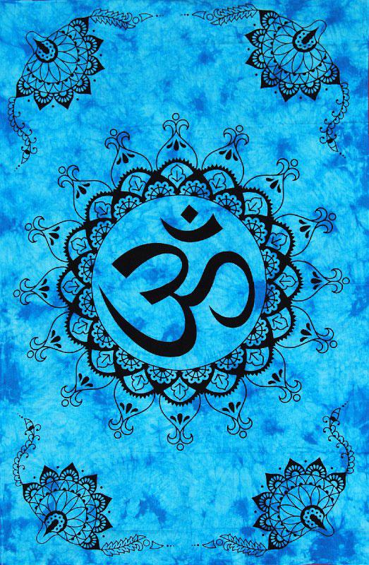 Tenture indienne mantra Aum bleu