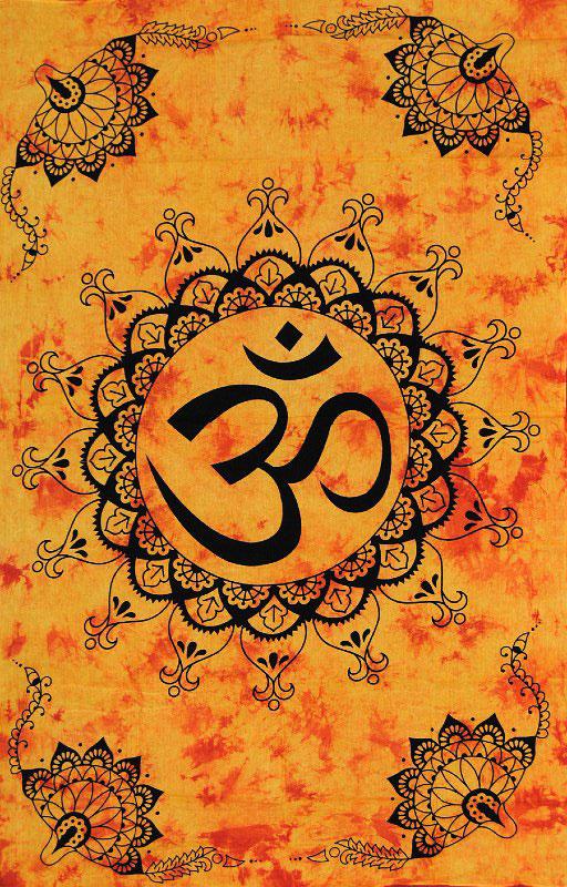 Tenture indienne mantra Aum orange
