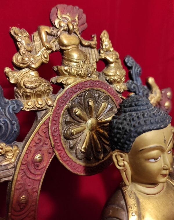 Statue Bouddha Sakyamouni - Bronze et Or - Népal