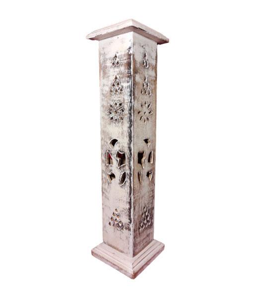 Porte encens tour en bois blanchi - Inde
