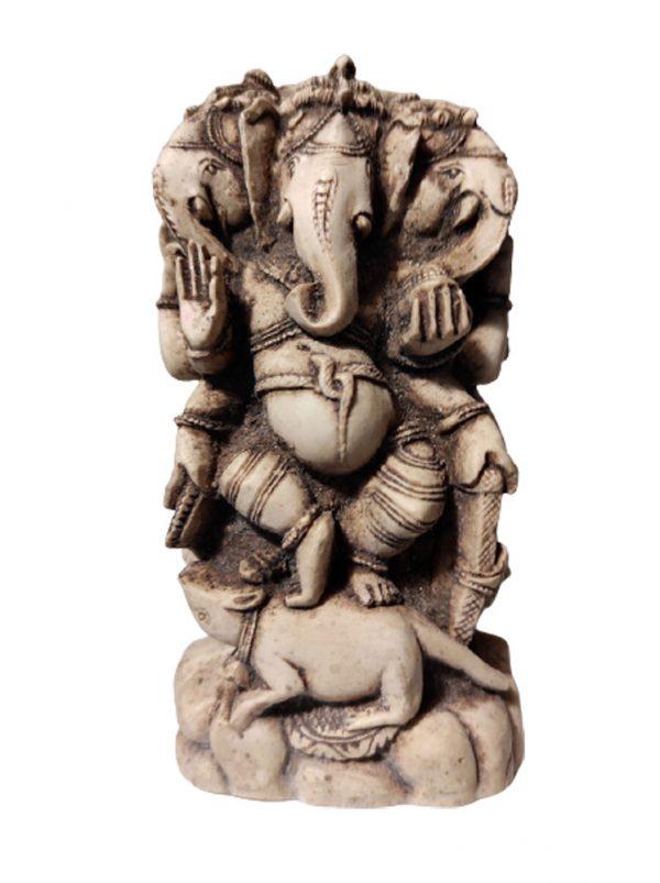 statue Ganesh à 3 têtes en résine