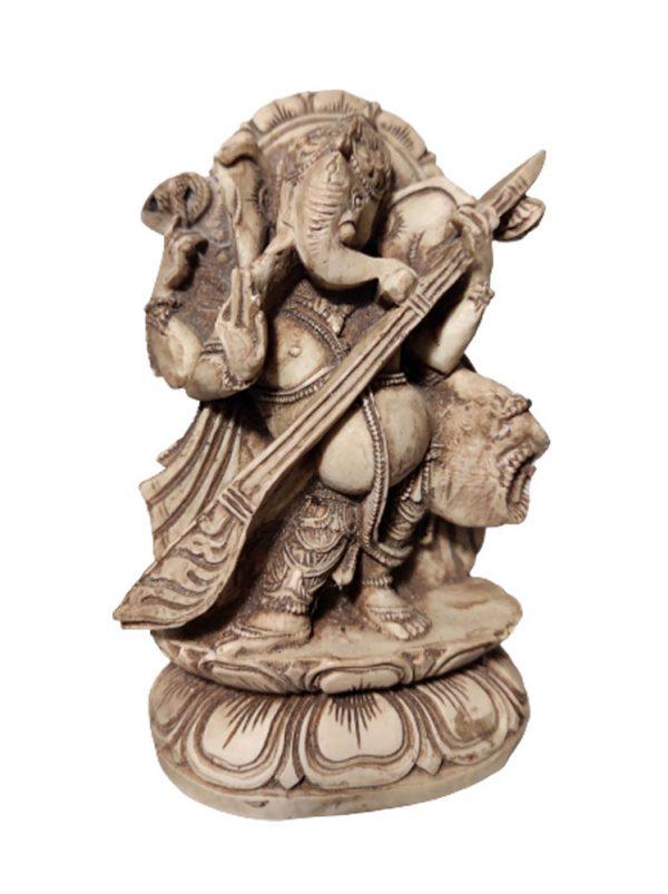 statue Ganesh musicien en résine