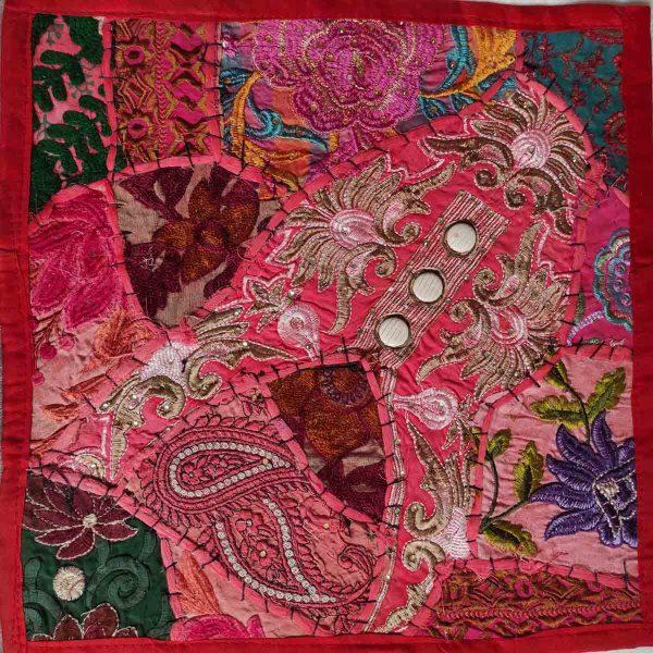 Housse de coussin patchwork saris Indien N02