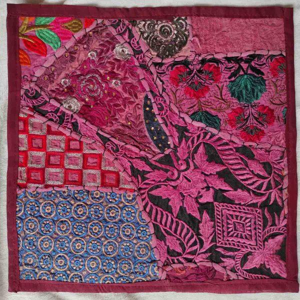 Housse de coussin patchwork saris Indien N09