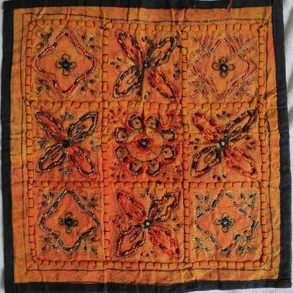 Housse de coussin patchwork saris Indien N10