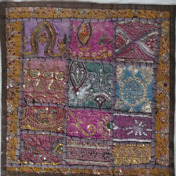 Housse de coussin patchwork saris Indien N13