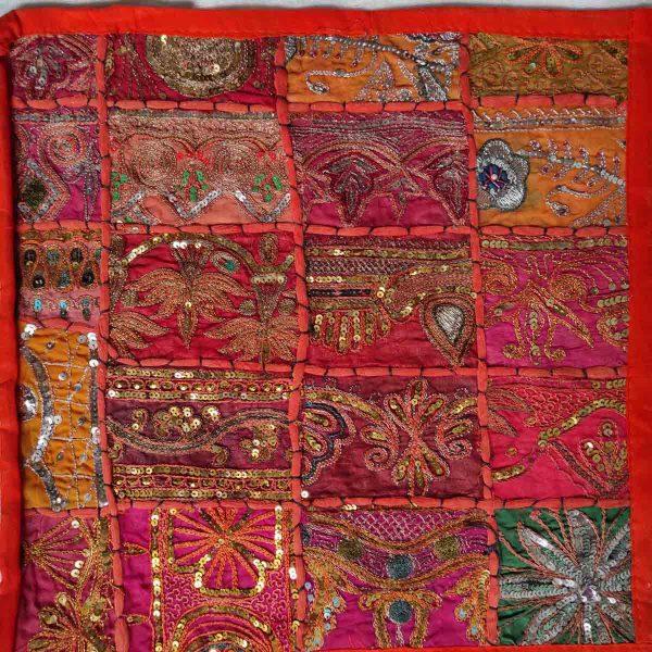 Housse de coussin patchwork saris Indien N15