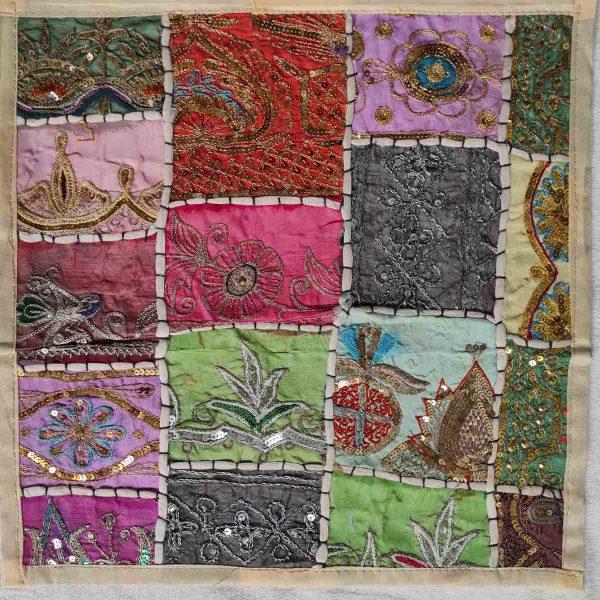 Housse de coussin patchwork saris Indien N18