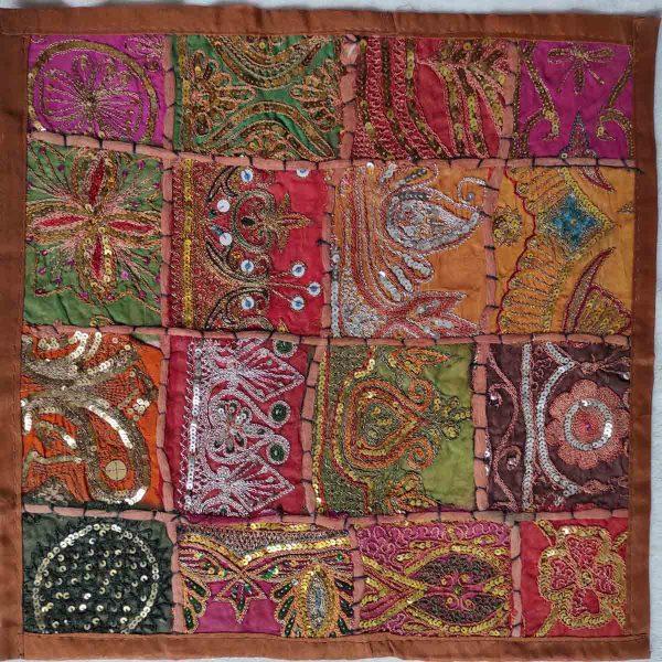 Housse de coussin patchwork saris Indien N19