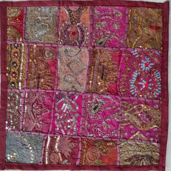 Housse de coussin patchwork saris Indien N20